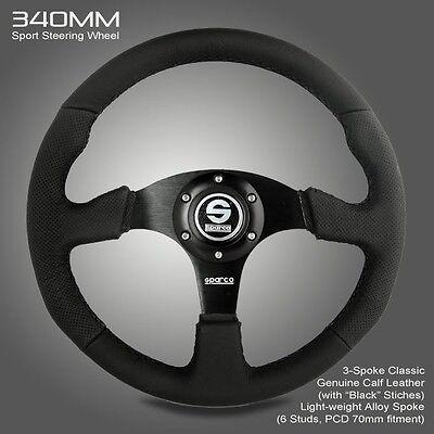 BRAND NEW 340MM SPARCO Genuine Calf Leather Sport Racing Steering Wheel w Horn