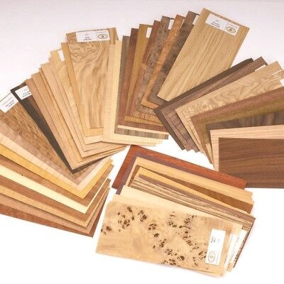 50 Pc Wood Veneer Mixed Pack - Identification Kit Domestic Exotic Rawunbacked