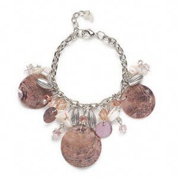Bracelet Antiqued Silver Chain Shell Dangles Acrylic Drops Jewelry