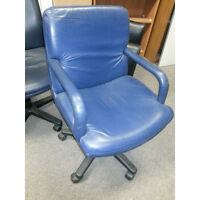 Blue Soft Leather Task Seating,  Boardroom Chairs Gas lift