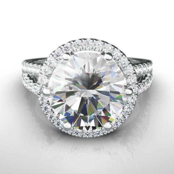 Halo Diamond Ring 6 Prongs 14 Karat White Gold 4.5 Ct Estate Si2 Split Shank