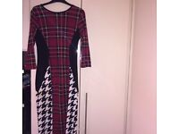 Red checked dog tooth dress
