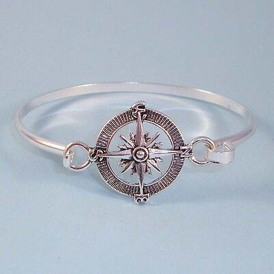 Bangle Silver Designer Bracelets - Designer Style Compass NEW Silver Bangle Jewelry Bracelet Front Open USA Seller