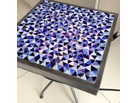 Coffee table side table light up blue tile mosaic