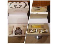 Gucci Bamboo, Michael Kors perfume sets.