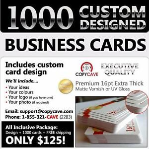 BUSINESS CARDS PACKAGE - 1000 Extra Thick 16pt Business Cards with CUSTOM DESIGN and Free Shipping