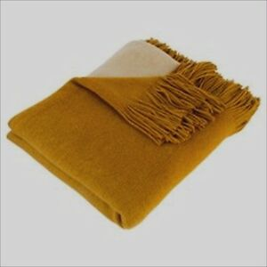 OMBRE THROW BLANKET - MUSTARD 120 X 160 CM HOME DECOR BEDDING LOUNGE NEW