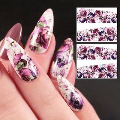 Nail Art Water Transfer Sticker Purple Rose Flower Floral Decals Manicure, used for sale  Pleasanton