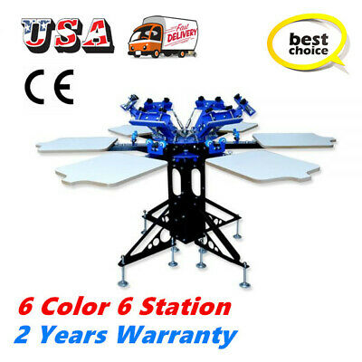 6 Color 6 Station Manual Silk Screen Printing Machine T-shirt Screen Equipment