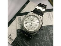 White face brushed waffle automatic clear glass back mens watch audemars piguet elegant boxed