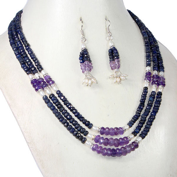 d3af6844a44e56 Details about 430 Carat Natural Sapphire Amethyst Pearl Beaded Designer  Necklace With Earring