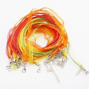 60-New-Assorted-Ribbon-Waxed-Necklace-Cord-46cm-130110