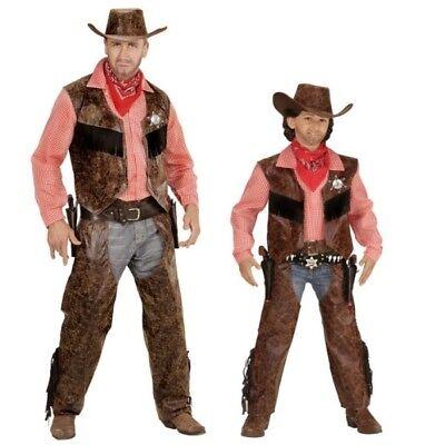 Kinder Western Kostüm (COWBOY Western Partner Kostüm für Herren und Kinder - Hemd mit Weste, Chaps  Hut)