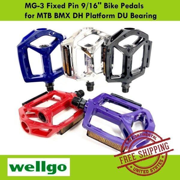WELLGO MG-3 9//16/'/' Fixed Pin Bike Pedals for MTB BMX DH Platform Blue