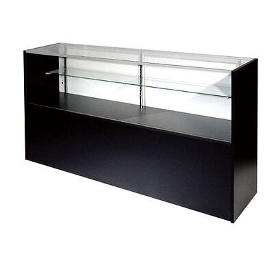 Itemsch4b 4 Foot Black Glass Display Case Half Vision Showcase Brand New