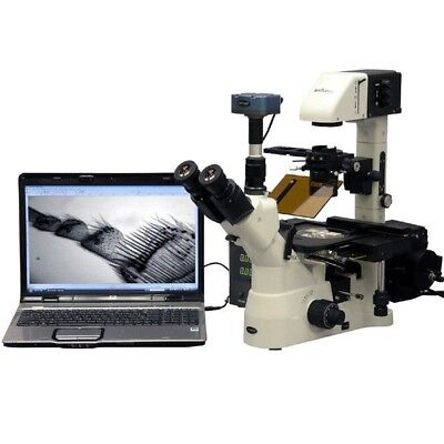 Amscope 1500x Phase Contrast Inverted Fluorescence Microscope 1.4mp Bw Cam