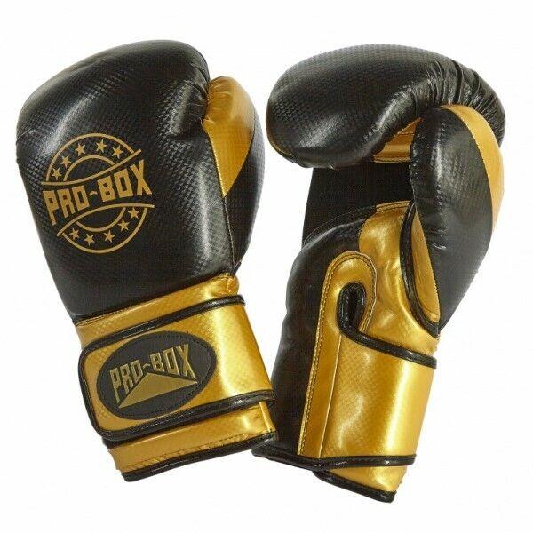 Pro Box Champ Spar Gloves Black Gold Boxing Kickboxing Training K1 Sparring