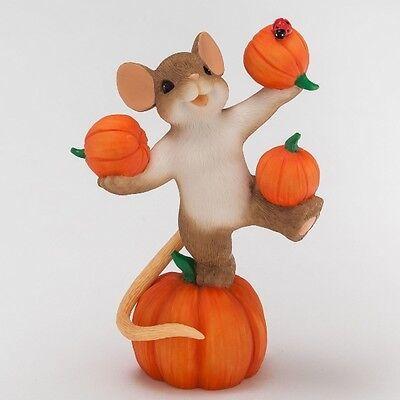 "NEW ""Hooray!!! It's Pumpkin Time!"" CHARMING TAILS Mouse Figurine NIB #4046775"
