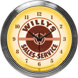Jeep Willys Neon clock sign 8JEEPW 15 Wall Clock NEW MAN CAVE LOOK Neonetics