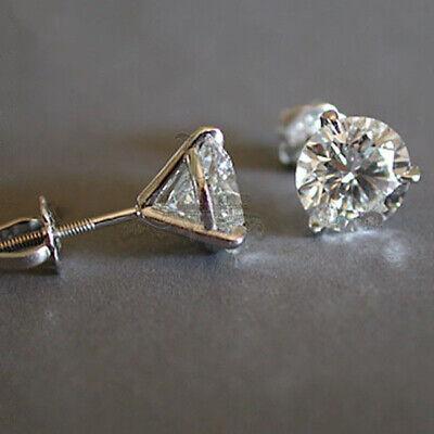 Luxury Round Cut White Sapphire 925 Silver Stud Earrings Women Wedding Jewelry