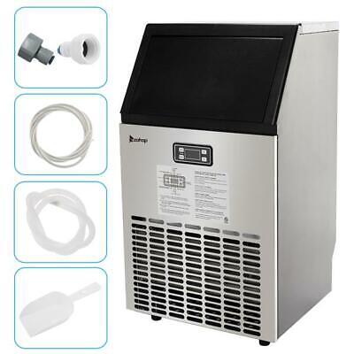 Commercial Ice Maker 99lbs Stainless Steel Ice Cube Machine Built-in Restaurant