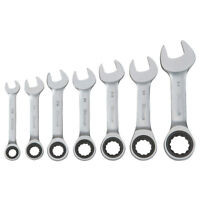 7 Pc SAE Stubby Combination Ratcheting Wrench Set - New Stock