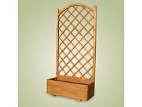 WOODEN SQUARE GARDEN PLANTER & LATTICE 90x40x180 cm - pot with lattice from £ 30
