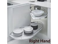Right hand fly moon carousel kitchen unit