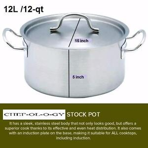 NEW COMMERCIAL 12L /12-qt Top Grade Thick STAINLESS STEEL 18/10 STOCK POT SAUCEPAN Stock Pot Covered with Stainless Lid