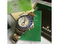 Mens bi metal automatic watch yacht master boxed rolex with papers