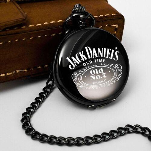 JACK DANIELS FLIP OPEN POCKET WATCH WITH CHAIN IN BLACK BRAND NEW
