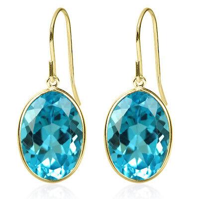 14.00 Ct Swiss Blue Topaz Oval Cut Solid 14K Yellow Gold Earrings - Oval Cut Swiss