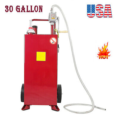 30 Gallon Gas Caddy Tank Storage Drum Gasoline Diesel Fuel Transfer Steel Heavy