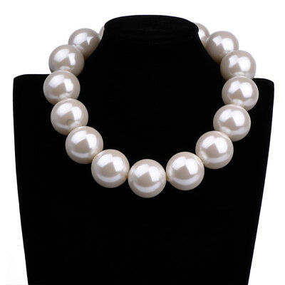 Fashion Elegant White Big Resin Pearl Chain Chunky Choker Statement Bib Necklace - White Bead Necklaces