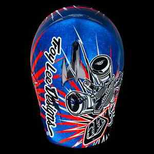 2013 Troy Lee Designs SE3 Pistonbone Blue Metalflake Paint Large MX Helmet TLD