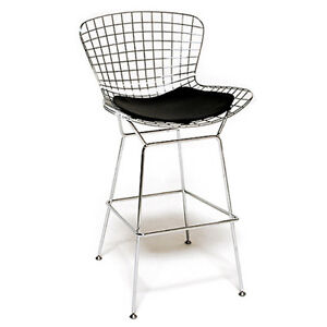 Bar Stools - Wire Mesh with Black Seat Cushion