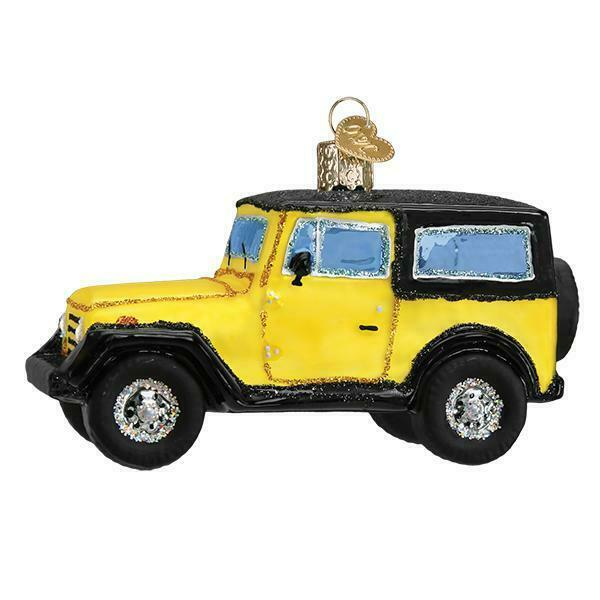 YELLOW SPORT UTILITY JEEP VEHICLE OLD WORLD CHRISTMAS GLASS ORNAMENT NWT 46083