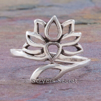 925 sterling silver LOTUS Flower blossom symbol Yoga Jewelry Ring 5 6 7 8 9 - Lotus Blossom Symbol