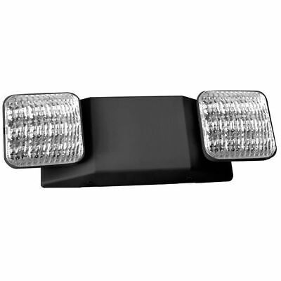 Black Led Emergency Exit Light Battery Backup Adjustable Two Round Heads