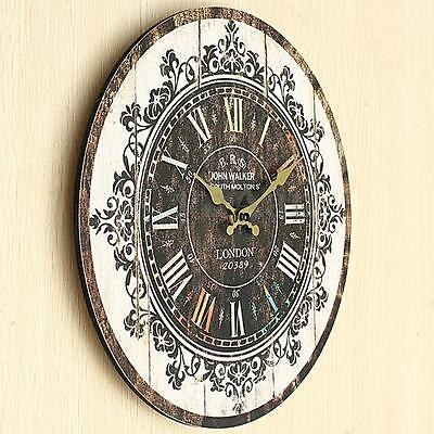 Burly Vintage Tracery Shabby Chic Retro Kitchen Home Office Wooden Wall Clock