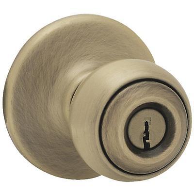 Exterior Door Lockset - 6 Pk Kwikset Polo Antique Brass Entry Exterior Door Knob Lockset 400P 5 CP K6