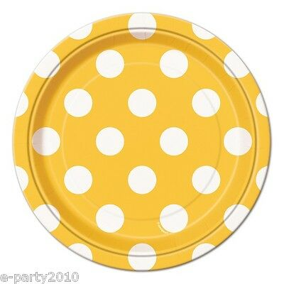 YELLOW POLKA DOT SMALL PAPER PLATES (8) ~ Birthday Party Supplies Cake Dessert (Yellow Paper Plates)