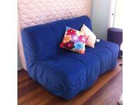 Blue Ikea Lycksele Double Sofa Bed Settee Futon Couch Daybed possible delivery
