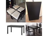 IKEA Bjursta dining table with chairs *Can deliver locally on Sun 28th Aug*