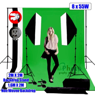 Photo Softbox 2200W Lighting Kit Stand Photography & 3x Backdrop
