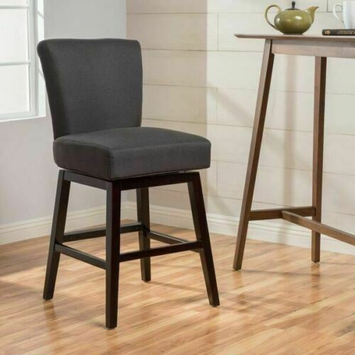 Tristan Contemporary Dark Charcoal Fabric Upholstered Swivel Counter Stool Benches, Stools & Bar Stools