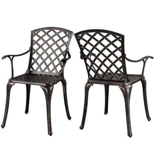 2 Pcs Aluminum Patio  Chairs, Outdoor Patio Bistro Dining Se