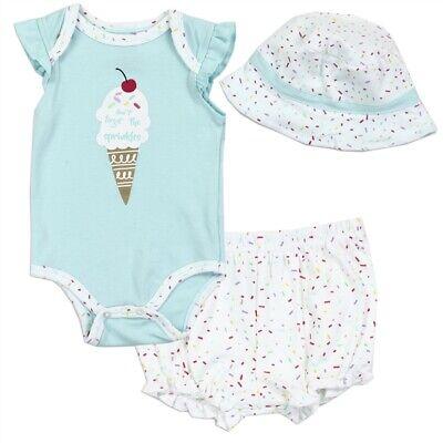 Baby Girls Infant Summer Cherry Ice Cream Sprinkles Bodysuit Shorts Sun Hat -