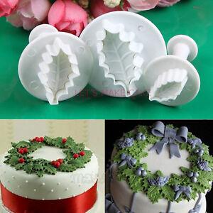 3pcs Holly leaf Cookie Plunger Cutter Fondant Sugarcraft Mold Cake Decorating