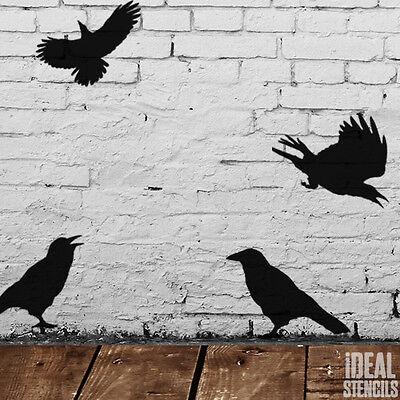 Crow Stencil Decor Halloween Decoration Stencils Crafts Reusable Window Display ()
